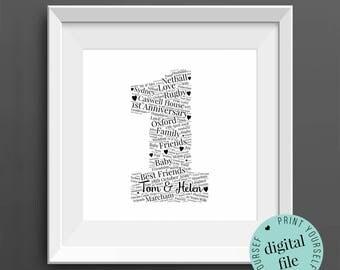 1st ANNIVERSARY GIFT - Word Art - Printable Gift - 1 Year Anniversary - 1st Wedding Anniversary - Paper Anniversary - Personalised Gift