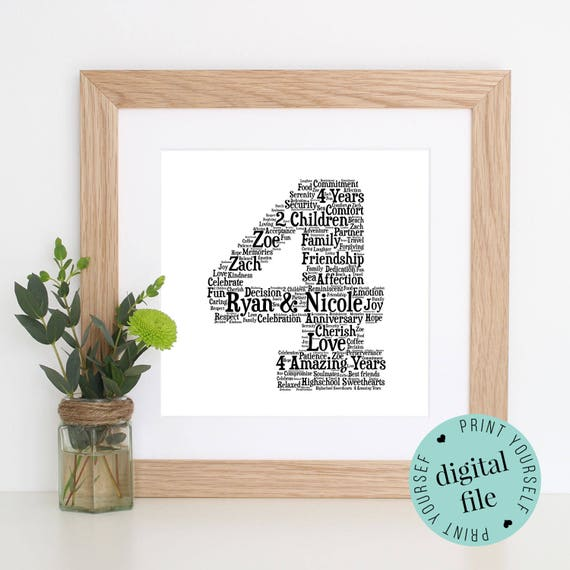 Gift For 4th Wedding Anniversary: Personalised 4th ANNIVERSARY GIFT Word Art 4th Wedding