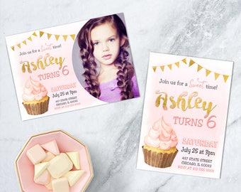 Cupcake Birthday Invitation, Cupcake Decorating Party, Cupcake Wars, Pink Watercolor Girls Cupcake Party, PRINTABLE