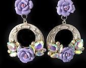 Huge silver lavender ceramic rose and AB crystal hoop clip on earrings RUNWAY