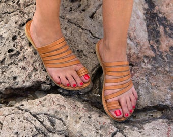 Brown Genuine Greek Leather Sandal - Calliope