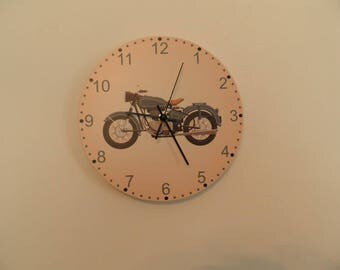 Motorcycle  wall clock,  kids room  coloured,  Housewares, nurcery wall clock, gift for boys or girls,  animal wall clock