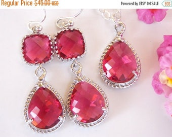 SALE Bridesmaids Jewelry, Fuschia Set of Earrings and Pendant, Wedding Gifts, Dark Pink, Hot Pink, Sterling Silver,Dangle, Bridesmaids Gift,
