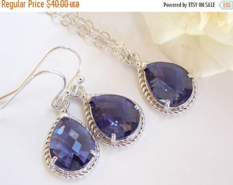 SALE Bridesmaid Jewelry Set, Purple Earrings and Necklace Set,Tanzanite, Amethyst,Sterling Silver, Wedding Jewelry, Dangle, Gift,Pendant Set