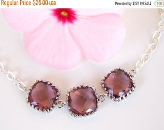 SALE Wedding Jewelry, Plum Bracelet, Burgundy, Eggplant, Sterling Silver, Bridesmaid Jewelry,Bridesmaid Bracelet, Bridesmaids Gift, Wedding