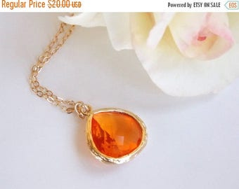 SALE Wedding Jewelry, Orange Necklace, Gold, Tangerine, Carnelian, Bridesmaid Jewelry, Brides Gifts, Gold filled, Bridesmaids Gifts, Pendant