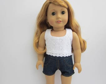 White eyelet sleeveless crop top for 18 inch dolls such as American Girl