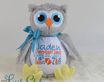 Personalized Owl, Birth Stats Owl, Name Owl, Embroidered Owl, Keepsake Owl, Memorial Owl, Grey Owl Stuffie, Baby Owl, Owl,w Little Elska