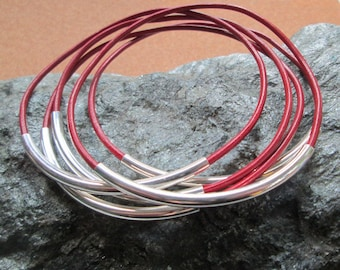 Thin Red Leather Bracelets, Women's Red and Silver Leather Bangle Set, Boho Red Leather Tube Bracelet Set, Silver and Red Stacking Bracelets