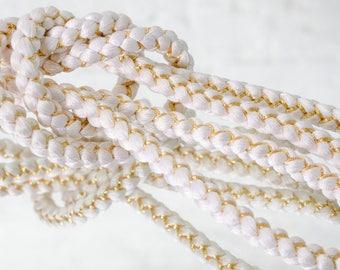 White and Gold Thread Hand-Braided Silk Kimono Tie