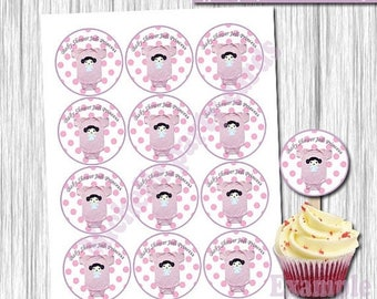 50%Off Topper  Cupcake New Jedi Princess- Stikers 2.5x2.5 Inches, in 8.5x11-Download