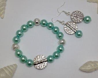 Set bracelet and earrings green water ref 465