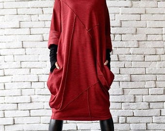 ON SALE Red Loose Tunic/Oversize Red Dress/Red Maxi Dress/Long Sleeve Winter Dress/Red Polo Dress/Plus Size Maxi Dress/Long Tunic Top/Red Tu