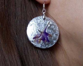 Gift for her Wooden accessory for woman gift Earrings with herbarium Dried flowers Purple Wooden ornaments Round earrings Silver leaf