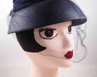 Jonquil Original Hat,Navy blue,cloche,vintage hat,mid century modern,women accessories,movie prop,stage prop,navy cloche hat,veiled hat,hats
