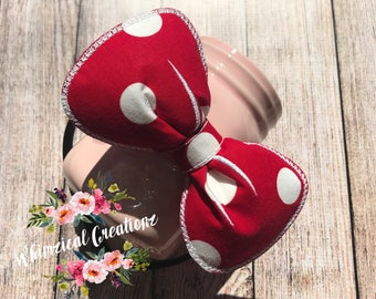 Red with White Polka Dots Minnie Puffy Bows