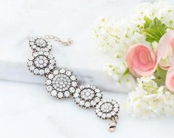 Statement Bracelet, Crystal Bracelet, Wedding Jewelry, Statement Jewelry, Gold Crystal Medallion Bracelet, Chunky Bracelet, Gift for Her
