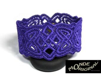 Purple embroidered Celtic bracelet