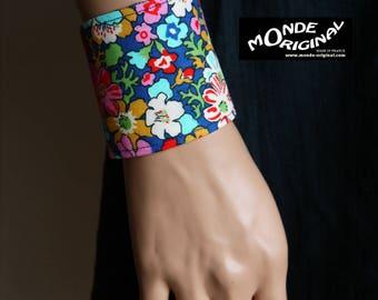 Blue Cuff Bracelet in denim and fabric Liberty lifestyle - Lytton