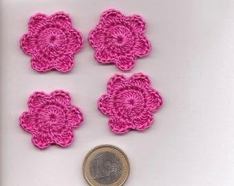 SET of 10 SCRAPBOOKING Fuchsia cotton CROCHET flowers