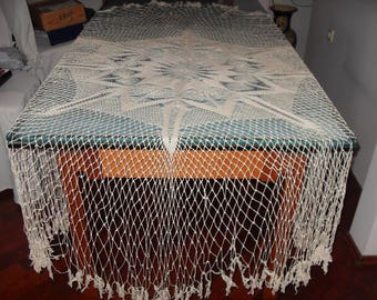 Unique round crocheted tablecloch - D 200 cm/79in