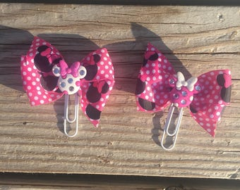 Pink and white polkadot minnie bow clips