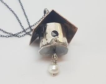 Tiny Birdhouse Pendant