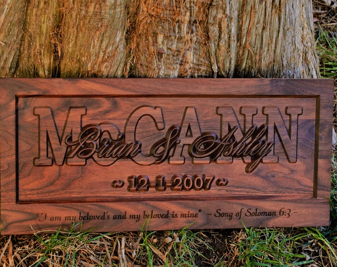 Wedding Gifts Solomon Last Name Established Sign Family Name Signs Custom Wood Sign Carved Wood Sign 3D 5 Year Anniversary Gift