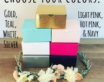 Gift boxes! Silver, pink, white and teal! Mix and match colors! Perfect for party favors!