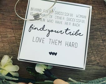 Find your tribe, love them hard. Best friend gift! Silver arrow bangle and poem! Christmas gift! Free gift wrap! GOLD back in stock!