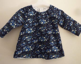 Tunic size 12/18 months, blue velvet dark floral baby