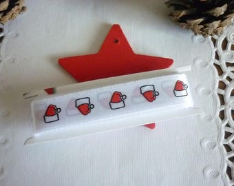 Ribbon satin on white background with a little Christmas hat, sold by the yard.