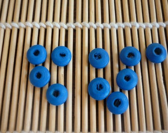 Blue 10 mm disc wooden beads, sold in packs of 10.