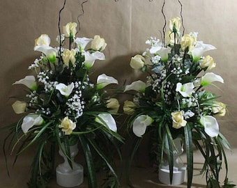 1 Pc Altar Arrangement Centerpiece Ivory White Real Touch Flowers