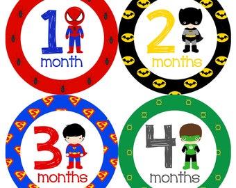 Iron On Instant Download Superheroes Monthly Onesie Stickers - Avengers Spiderman Batman Superman Ironman Thor Hulk Digital Copy Printable