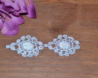 1 lace guipure applique motif silver grey