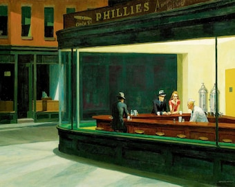 NIGHTHAWKS canvas print 12 inch x 16 inch print stretched over wooden frame    fast despatch from uk
