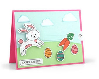 Moveable Bunny Easter Card , Blank inside , Eggs , Clouds , Kids , adults , Friends , Carrots , Spring