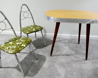 Mid Century Chrome And Golden Yellow Formica Play Table With Tapered Wooden  Legs