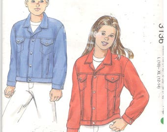 Kwik Sew 3136 Size 4, 5, 6, 7, 8, 10, 12, 14  Boys and girls denim jacket sewing pattern, classic button front denim / jean jacket