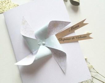 Menu windmill for baptism or wedding