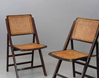 Pair Cane Folding Chairs