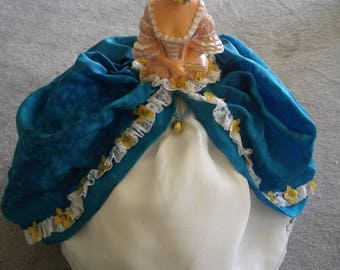 Marquise silk handpainted blue and white
