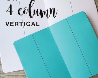 4 COLUMN VERTICAL DIY Travelers Notebook Insert  B6  B6 slim Pocket Standard Cahier Field Notes Personal