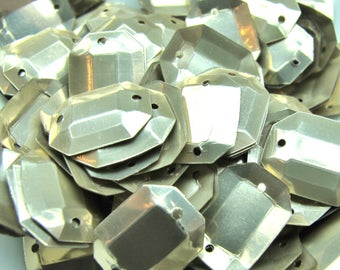 OCTAGONAL PALE GOLD GLITTER 100 MATTE FACETED 2 HOLE 10/13 MM