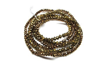 25 ROUND GLASS BEADS HAS ANTIQUE GOLD 3 MM FACETED