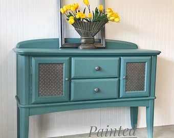 Nice Painted Blue Solid Oak Buffet Entryway Table Tv Media Cabinet