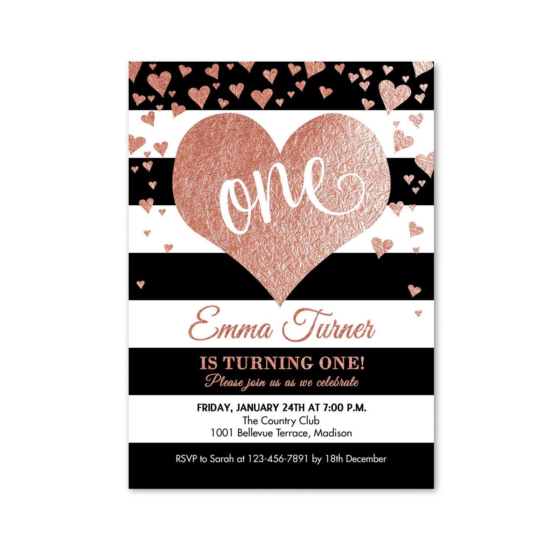 First Birthday Invitation 1st Birthday Rose Gold One Heart