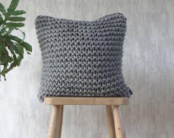 Chunky Knit Cushion Pillow in Mid Grey - Alpaca Garter Cushion