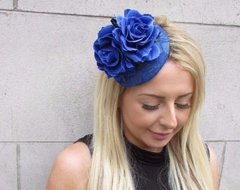 Royal Blue Rose Flower Fascinator Hat Wedding Hair Clip Races Headpiece 3149